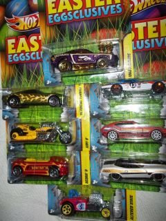 HOT WHEELS 2012 EASTER EGGCLUSIVES FULL SET OF 8 ON VERY MINT CARDS