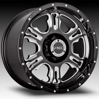 5x150 Black V Tec Rage Wheels Rims 5 Lug Tundra 2077 2008 2009 2010
