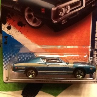 HOT WHEELS 2011 MUSCLE MANIA 71 DODGE CHARGER BLUE W/ GREEN RIMS #108