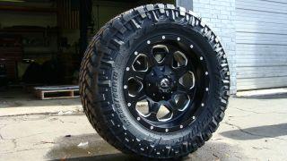 Fuel Wheels Boost Black Machined 5x150 33 Nitto Trail MT Tundra 2007