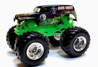 Hot Wheels Monster Jam Truck Grave Digger Chrome Rims 1 64th Scale