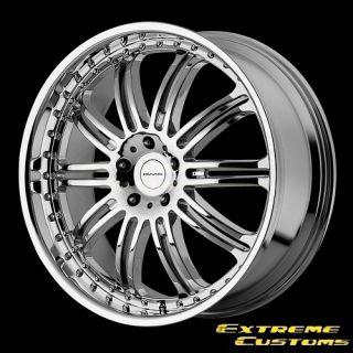 24 x10 KMC Wheels KM127 Dime Chrome 5 6 Lug Wheels Rims Free Lugs
