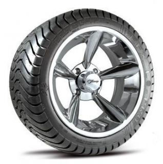 of FOUR 225 35 12 EFX Lo Pro Golf Cart Tires on Polished Bullet Wheels