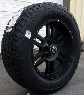 20 Flat Black Wheels Tires Chevy 1500 Tahoe 20x9 Matte Black 20 inch