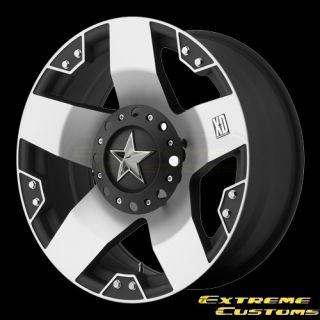 XD775 Rockstar Black Machined 5 6 8 Lug Wheels Rims Free Lugs