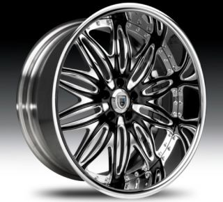 22 asanti AF151 Black Chrome Wheels Rims 2 Piece Tone