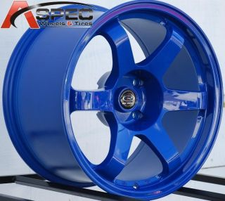 17x9 9 5 Rota Grid Wheels 4x114 3 Rims 12mm Fork Blue Aggressive Fits