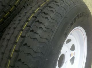 Tires St 205 75 D15 Bias Ply Tire w White Spoke Rims Wheels 15