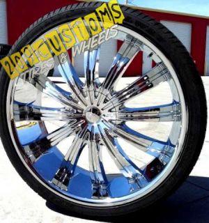 22 inch Phino Wheels Rims Tires PW38 5x115 5x120 13 Offset 22x9 Dodge