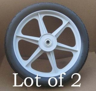 Lot of 2 Ace 14 Replacement Mower Cart Wheels Grey