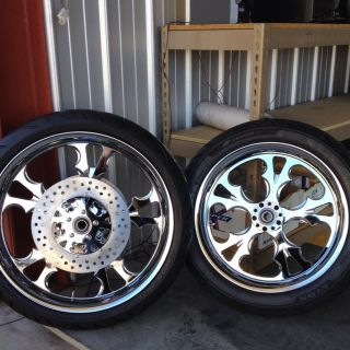 Harley Street Glide Road Glide Wheels Chrome 21 18 With Tires Rotors