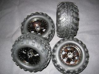 New HPI Savage x Black Chrome Rims Tires Wheels 17mm