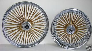 DNA Mammoth Fat 52 Gold Spoke Wheels 21x3 5 18x8 5 Harley