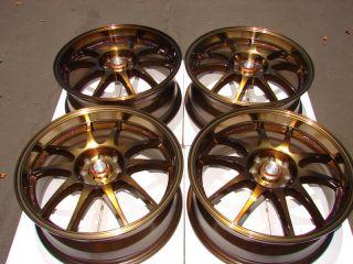 17 4x114 3 4x100 Wheels Bronze Accord CRX Civic Integra Miata Cabrio 4