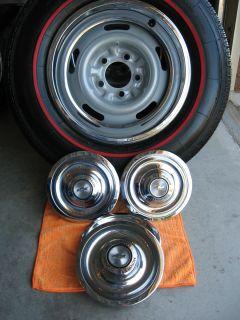 P205/75R15 Coker Redline Tires (4) 15x6 Corvette / Camaro Rally Wheels