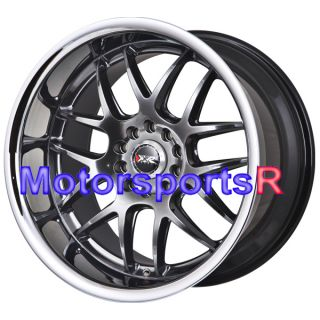Chromium Black Polished Deep Lip Staggered Wheels Rims 03 Nissan 350z