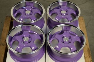 Purple Low Offset 25 4 Lug Wheels Del Sol Integra Honda Civic CRX Rims