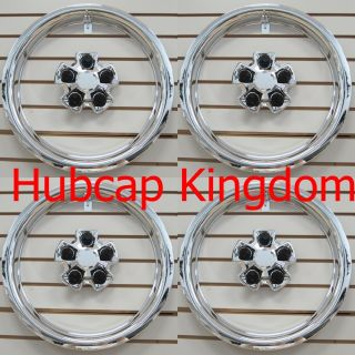 New 2010 2013 Chevy Camaro Steel Wheel Chrome Center Cap Trim Ring Set