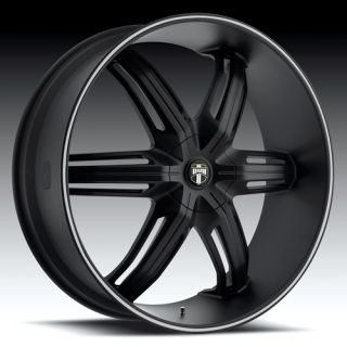 24 x9 5 Dub Drone Black 6 Lug Wheels Rims