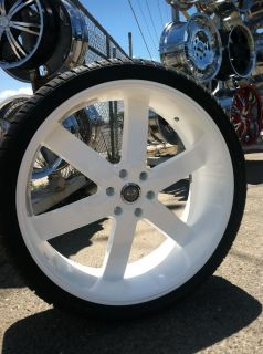 24 Gloss White Rims Tires Avalanche Yukon Denali GMC Titan Chevy 305