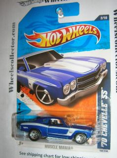 70 Chevelle SS Blue Custom Hot Wheels Real Rider Rubber Tires
