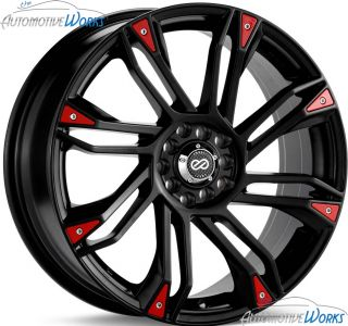 17x7 Enkei GW8 4x100 4x108 4x4.25 +42mm Black Red Rims Wheels Inch 17