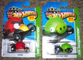 HOT WHEELS ANGRY BIRDS; RED BIRD & MINION PIG VEHICLE, 2012 35/50 & 47
