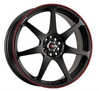 Drag DR33 17 Rims 5 Lugs Black Face w Red Lip Wheels