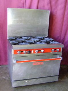 36 Vulcan 6 Burner Gas Range Single Gas Convection Oven 36LC on Wheels