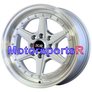 15 15x7 XXR 501 Silver Machine Lip Rims Wheels 4x100 4x4 5 4x114 3 Et