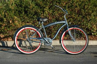NEW beach cruiser bicycle GREY RED RIMS beach bike with 26 wheels guy