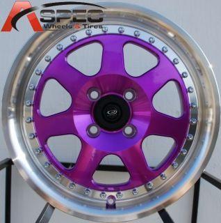16x7 Rota J Mag Wheels 4x100 Purple Rims ET40MM Fits 4 Lug Integra