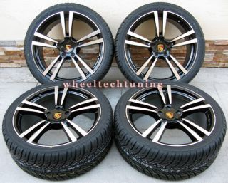 22 PORSCHE CAYENNE TURBO II STYLE WHEELS RIMS TIRES BLACK WITH MACHINE