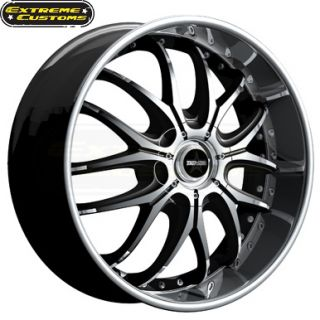 x8 Dropstars DS41MB Black Machined 5 Lugs Wheels Rims Free Lugs