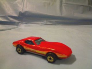 Mattel 1980 Hot Wheels Corvette Stingray Red w Yellow Orange Stripe