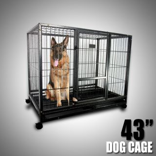 43 Heavy Duty Metal Dog Cage Kennel w Wheels Portable Pet Puppy