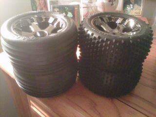 Traxxas Nitro Rustler Jato Wheels Tires Mounted Black Chrome