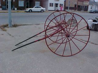 Sulky 2 Wheel Cart Horse Drawn Wicker Seat 54 inch Wood Wheels