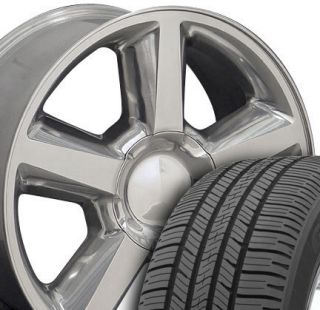 20 Polished Tahoe Wheels Goodyear 275 55 20 LS2 Fit Chevrolet GMC