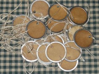100 Small Round Metal Rim Blank Primitive Hang Tags