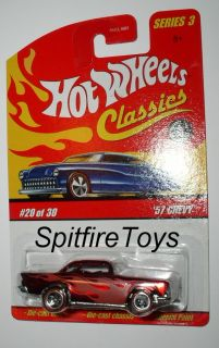 HOT WHEELS CLASSICS SERIES 3 #20 57 CHEVY BEL AIR RED METAL BODY