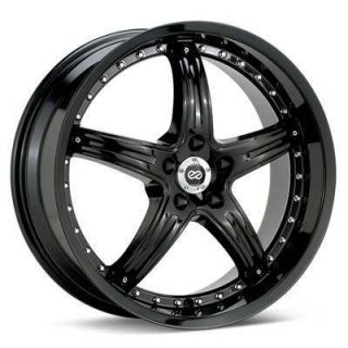 18 Enkei LS 5 Black Rims Wheels 18x8 50 5x112 Jetta Passat Golf GTI