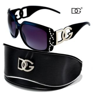 Black DG Sunglasses with Rhinestone Rims Oversized Case Stylish Shades