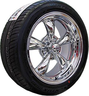 17x7 8 CHROME REV CLASSIC 100 WHEELS RIMS NEXEN TIRES CHEVY NOVA 1968