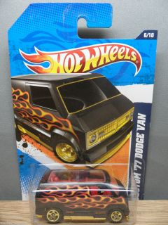 2011 HOT WHEELS CAR 1/64 HEAT FLEET CUSTOM 1977 DODGE VAN # 96 FLAT