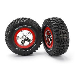 Traxxas 5867 Chrome Red Wheels Off Road Racing Tires 2 F R 1 10 Slash