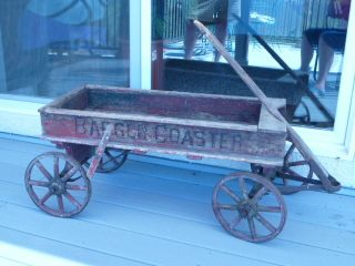 ANTIQUE CHILDS WOODEN WAGON W/SPOKE WHEELS LATE 1800S EARLY 1900S