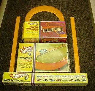 Hot Wheels Set in Boxes Strip Action Super Charger Full Curve More