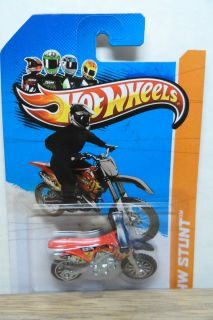 2013 Hot Wheels 1 64 Stunt HW450F Dirt Bike 97 Red Ormc Wheels Ml