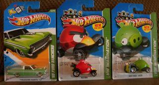 2013 Hot Wheels Treasure Hunt 65 Ford Ranchero Plus 2 Angry Birds